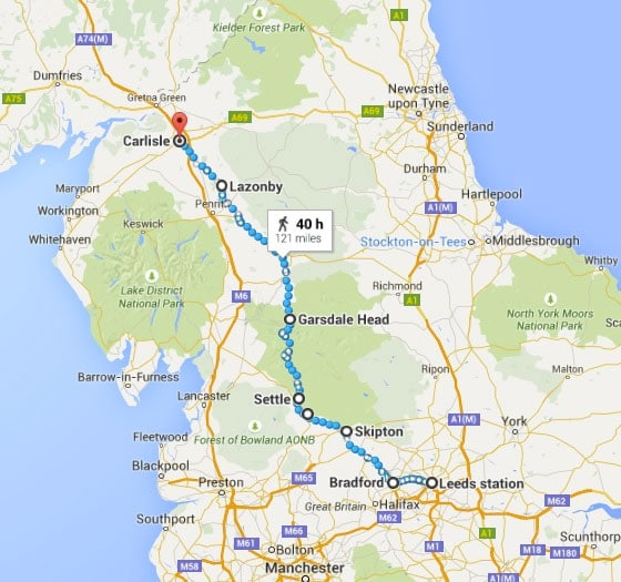 Travelling to the Yorkshire Three Peaks