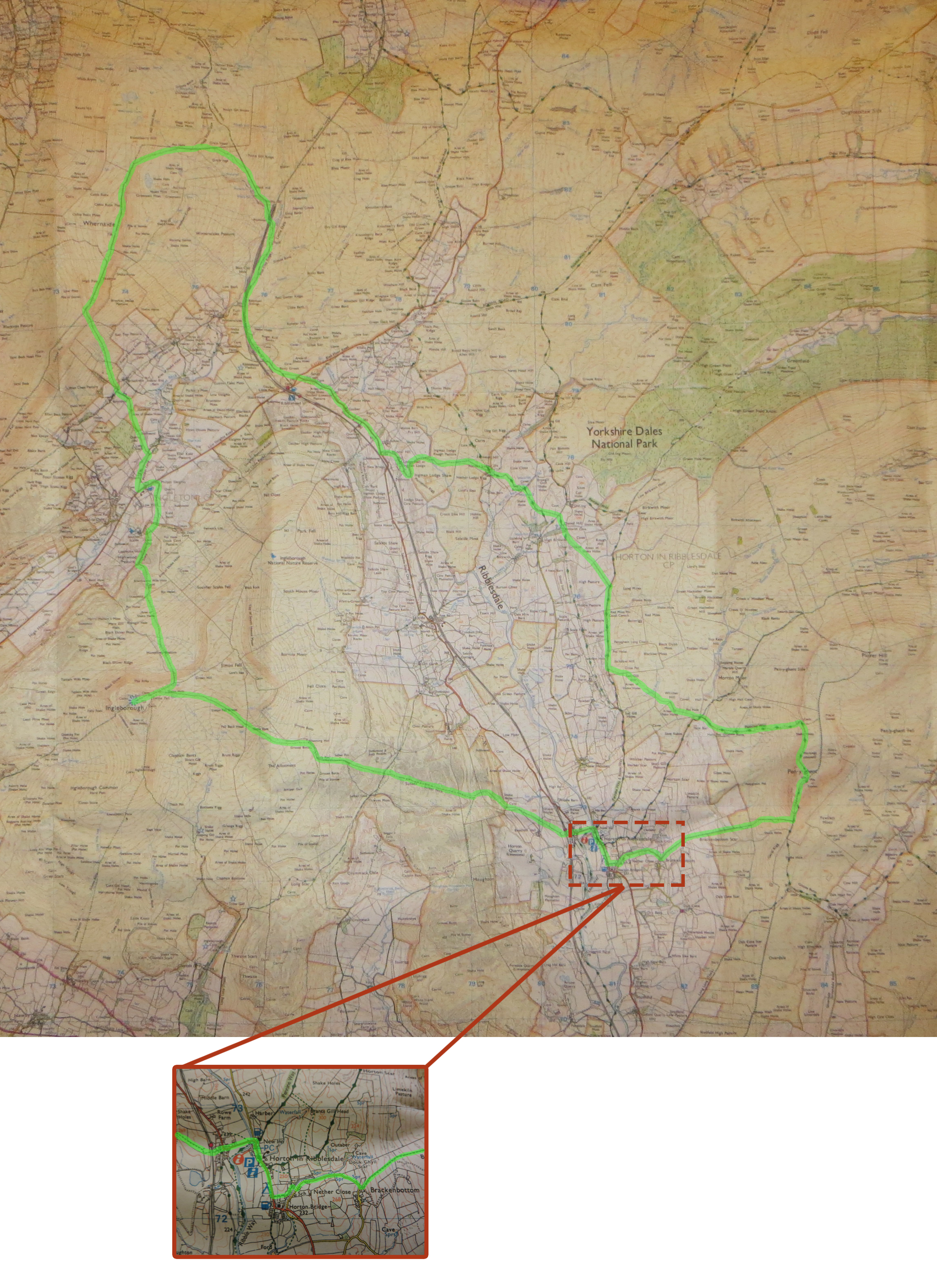 Yorkshire three peaks os map with detailed route yorkshire three peaks route on os map small fandeluxe Gallery