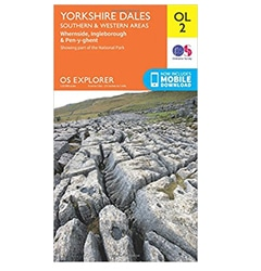 Yorkshire three peaks os map with detailed route fandeluxe Image collections