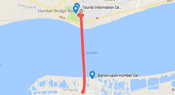 Humber Bridge Walking Route From Hessle to Barton