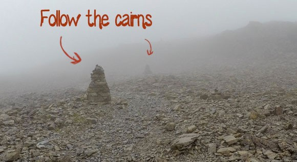Cairns leading to Ben Nevis summit