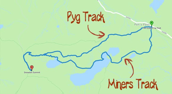 Pyg and Miners track snowdon route