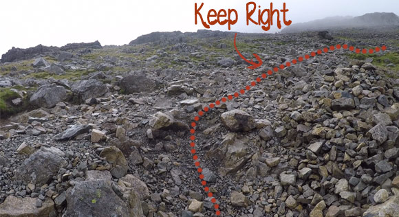 Right turn when climbing Scafell Pike