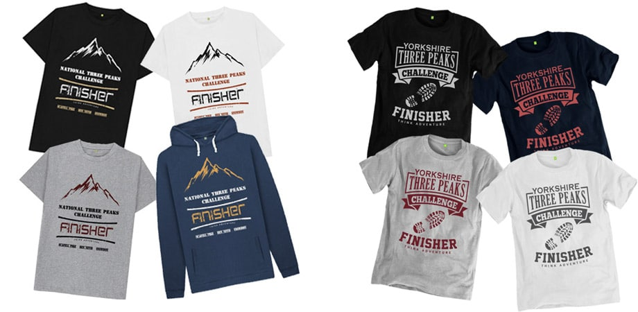 Collection of National Three Peaks and Yorkshire Three Peaks tshirts