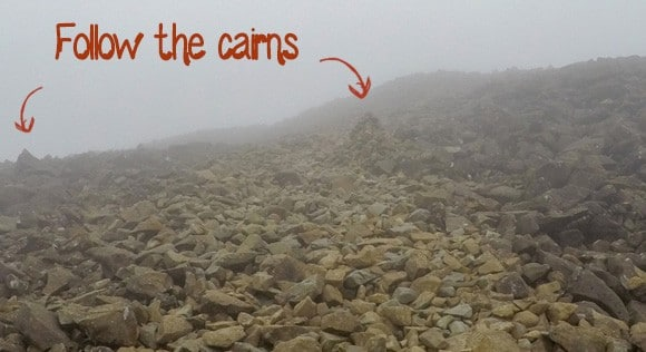 Cairns up Scafell Pike