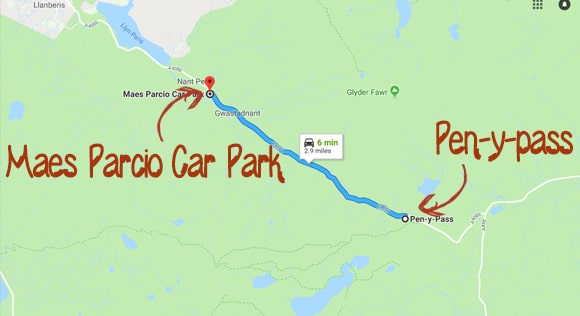 Maes Parcio Car Park to pen-y-pass