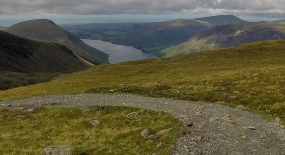 Route down Scafell Pike with Wast Water view