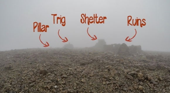 pillar trig shelter ruins ben nevis summit