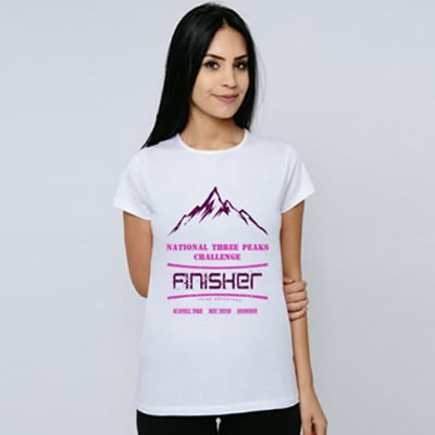 Female white National Three Peaks tshirt model