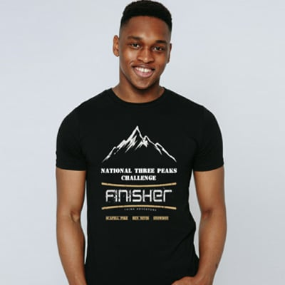 black National Three Peaks tshirt model