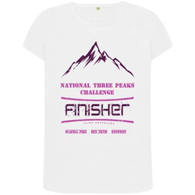 Female white National Three Peaks tshirt