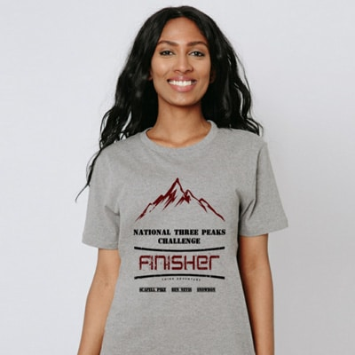 grey National Three Peaks tshirt model