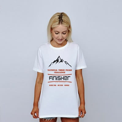 white National Three Peaks tshirt model