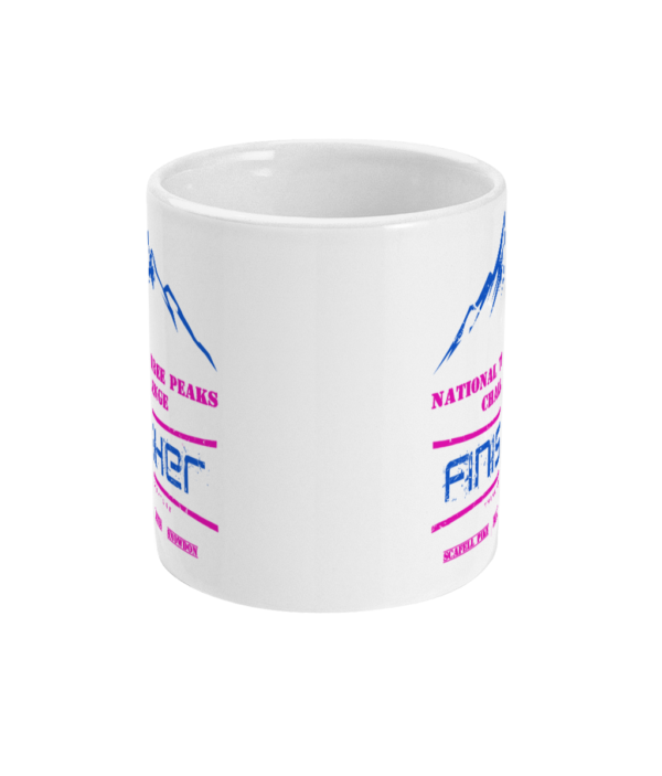 National Three Peaks Mug Blue and Pink Front
