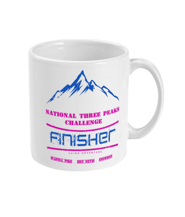 National Three Peaks Mug Blue and Pink Right