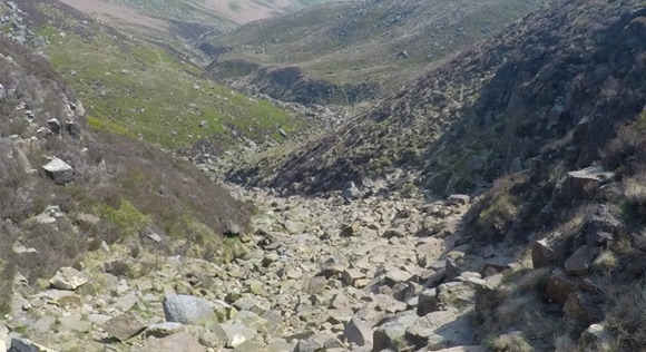 Path leading down Grindbrooks Clough