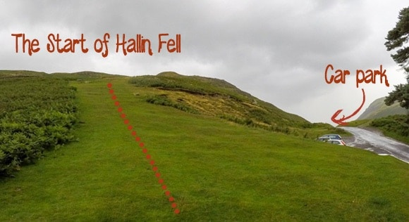 Start of Hallin Fell route
