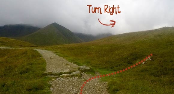 Right turn to Birkhouse Moor