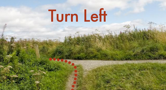 Turn left on to main path