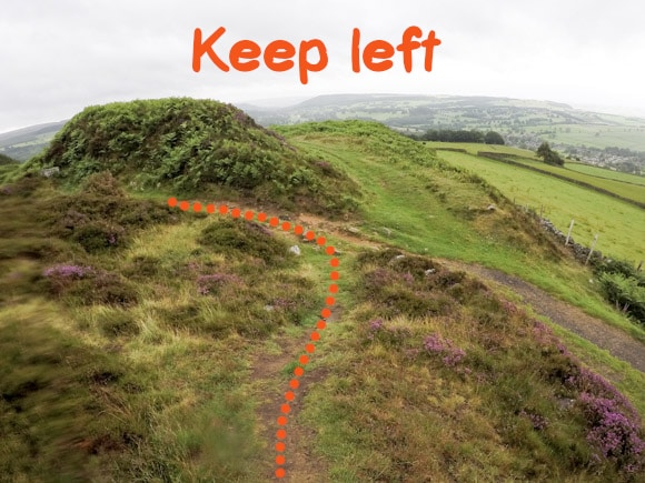 Keep left returning to main path after Baslow