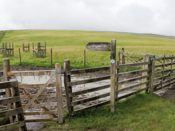 Signpost for Pennine Way and Malham Cove