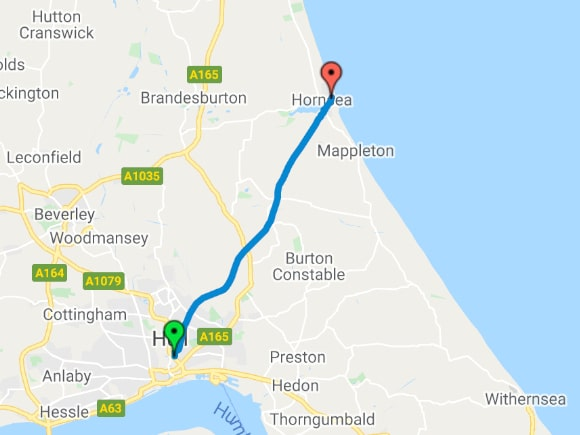 Hull to Hornsea route