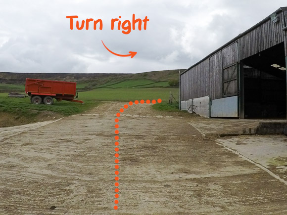 passing the barn right turn