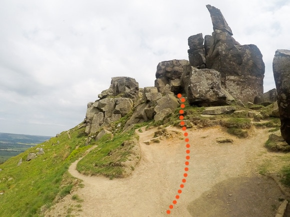 Route through the Wainstones